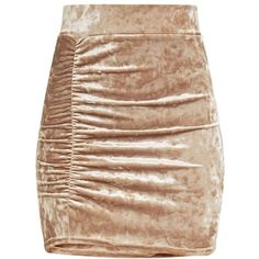 Elettra Champagne Crushed Velvet Side Ruched Mini Skirt ($21) ❤ liked on Polyvore featuring skirts, mini skirts, champagne skirt, gathered skirt, short skirts, shirred skirt and short mini skirts