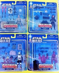 STAR WARS LOT OF 4 ACTION FIGURE ACCESSORY SETS  (2002)