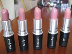 MAC shades L-R (Viva Glam V, Hug Me, Patiserie, Creme Cup, 3N) -  I LOVE Creme Cup and Viva Glam V (I'd skip Patiserie not enough color or coverage).