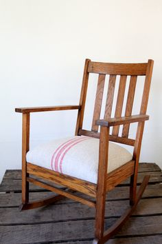 Antique Mission Chair With Homespun Upholstery / Rocking Chair