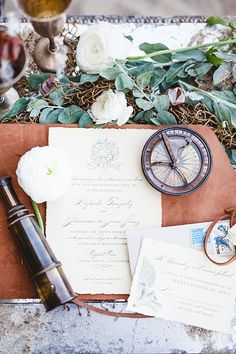 Of The Sea Styled Shoot by Debby Boh Events and Damaris Mia Photography (Southern California Bride) Nautical Wedding Invitations, Wedding Stationary, Invites, Vintage Theme, Vintage Party, Creative Wedding Inspiration, Copper Wedding, Seaside Wedding, Custom Leather