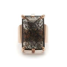 Eshel Ring- Blackened Rutilated Quartz & Champagne Diamond