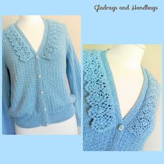 "Vintage Jumper 1940s Hand Knitted Sky Blue Textured Pattern Silky Wool Crochet Collar Mock Cardigan Forties Vintage Re-enactment Bust 40"" by GladragsandHandbags1 on Etsy"