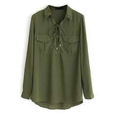 Dark Green Lapel Tie-Neck Long Sleeves Loose Blouse with Pockets (21 AUD) ❤ liked on Polyvore featuring tops, blouses, neck-tie, tie neck blouse, loose long sleeve shirt, loose blouse and long-sleeve shirt