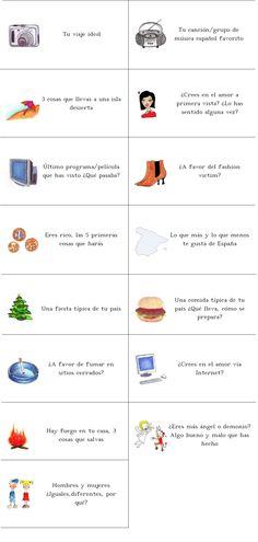 Fichas para hablar en clase de español - Comunidad Todoele
