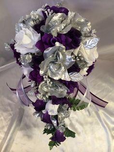 Wedding Bridal Bouquet Cascade Purple White Silver Silk Wedding Flowers  #BridalSilkFlowefrs