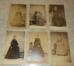 6 cdvs of women in hoop dresses