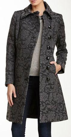 Spread Collar Jacquard Coat