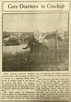 June 22, 1936 - Rollover car accident north of Ringle, Wisconsin.