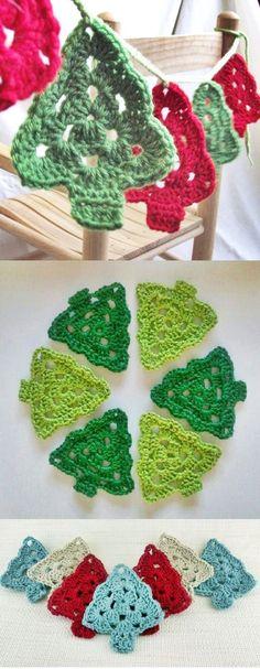 63 Ideas crochet christmas tree ganchillo for 2019 Crochet Christmas Decorations, Crochet Christmas Ornaments, Christmas Crochet Patterns, Holiday Crochet, Noel Christmas, Christmas Knitting, Christmas Bunting, Tree Decorations, Christmas Flowers