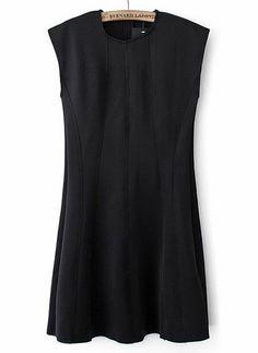 Vestido plisado cuello redondo sin manga-negro 0.00