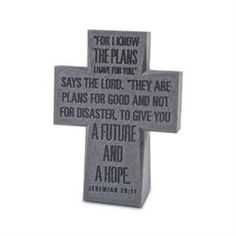 Cast Stone Cross - Jeremiah 29:11 #gifts for #graduates