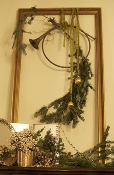 Mantle or wall with frame.