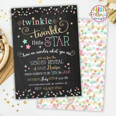 twinkle twinkle little star gender reveal invite gender reveal party mint or pink chalkboard diy printable or printed gender reveal