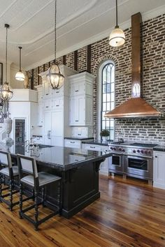 Traditional Kitchen with L-shaped, High ceiling, Restoration Hardware Victorian Hotel Pendant, Pendant light, Wall Hood