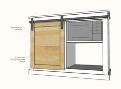 57 ideas barn door cabinets diy cupboards for 2019 Microwave Cabinet, Diy Cupboards, Microwave Storage, Barn Door Cabinet, Cabinet Plans, Mini Fridge Bar, Outdoor Mini Fridge, Diy Furniture Plans, Kitchen Furniture