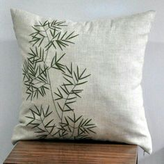 Bamboo Throw Pillow Cover Natural Linen Green Bamboo Embroidery Asian Decor Floral Pillow Case Home Decor Decorative pillow for couch Gold Pillows, Floral Pillows, Diy Pillows, Linen Pillows, Throw Pillows, Couch Pillows, Linen Fabric, Cotton Linen, Rustic Decorative Pillows