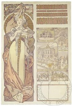 Oesterreich by Alfons Mucha, 1900. eSbírky, CC BY Prague, Alphonse Mucha Art, Art Nouveau Illustration, Sculpture Art, Sculptures, Commercial Art, World Of Color, Belle Epoque, Illustrations Posters
