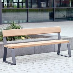 Campus Seat. A contemporary modular street furniture element, it is a simple and highly adaptable solution manufactured from steel and hardwood timbers. Can be used alone or combined with various extension modules to meet the specific requirements of any outdoor public space. Length:2000mm. Width:390mm. Height:870mm.