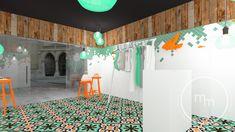 Butik w pięknej lokalizacji. Wnętrza proste, minimalistyczne ale jak zwykle z pazurem. Na posadzkach płytki cementowe barwione w masie, na ścianach cudowna mozaika ceramiczna szkliwiona połączona z drewnianymi deskami. Całość dopełniona kolorem w postaci drewnianych rzeźb i stołków.  Pracownia projektowa M&M