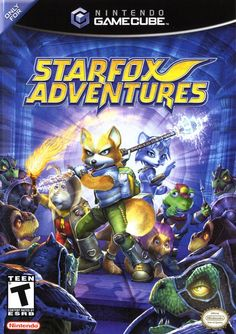 """Box art for """"Starfox Adventures,"""" a third-person 3D platformer for the Nintendo GameCube released in 2002."""