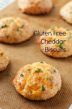 Gluten free cheddar biscuits that are heavy on the garlic, and delicious flavor. Vegan cheddar cheese replacement and they're perfect! Gluten Free Diet, Foods With Gluten, Gluten Free Cooking, Gluten Free Kitchen, Gluten Free Muffins, Gf Recipes, Dairy Free Recipes, Cooking Recipes, Bread Recipes