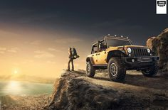 JEEP wrangler-Off Road. The design of this advertisement shouts out to achievers, shwoing the new Jeep as a go anywhere vehicle (suiting the go anywhere life of an achiever). Achievers also buy products to symbolise their progress and success, The construction of the adverts makes the viewer feel that if they had the Jeep they would appear accomplished. Automotive Photography, Advertising Photography, Car Photography, Commercial Photography, New Advertisement, Car Advertising, Advertising Design, Jeep Wrangler Off Road, Ads Creative