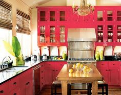 red kitchen cabinets!