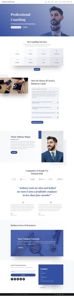 Get a Free Business Coach Layout Pack for Divi Web Design, Website Design Layout, Website Design Inspiration, Website Designs, Life Coach Certification, Coach Website, Website Themes, Website Ideas, Photography Themes
