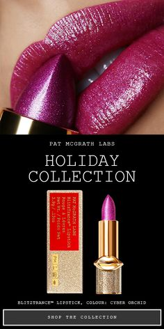 NEW BlitzTrance Holiday Lipstick: Get festive glossy, glitter lips and iridescent shine with the PAT McGRATH LABS BlitzTrance Lipstick Collection. Choose from 8 shimmering shades that come in luxurious glittering gold collectible packaging. Pat Mcgrath, Beauty Kit, Beauty Hacks, Lipstick Colors, Lip Colours, Glitter Lipstick, Glitter Nails, Lipstick Collection, Christmas Makeup