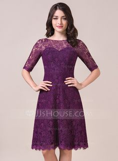 For the younger girls... A-Line/Princess Scoop Neck Knee-Length Lace Bridesmaid Dress (007056861)