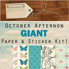 October Afternoon 100 Sheet Paper and Sticker kit.  76% OFF.  OVER $90.00 in SAVINGS at www.peachycheap.com!