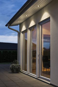 Recessed LED Soffit Light in Aluminium - (outdoor porch lights ideas) Outdoor Recessed Lighting, Exterior Wall Light, House Front, House Exterior, Exterior Design, House Lighting Outdoor, Garage Lighting, Exterior Remodel, Roof Light