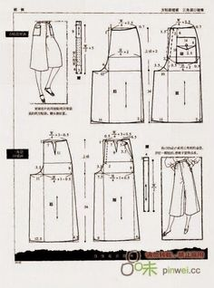 Skirt to coulotte Sewing Pants, Sewing Clothes, Diy Clothes, Dress Sewing Patterns, Clothing Patterns, Modelista, Sewing Lessons, Creation Couture, Pattern Cutting