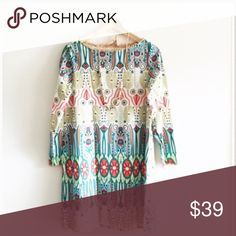 """Patterned shift dressBoutique Super chic and pretty. NWOT. Real product is the last pic. Material: Rayon. Bust/Length: S-35/34"""", M-37/34.7"""", L-38/35"""", XL: 39/35.5"""" Dresses Mini"""