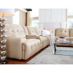 Magellan II 4 Pc. Power Reclining Sectional with Music Console | Value City Furniture