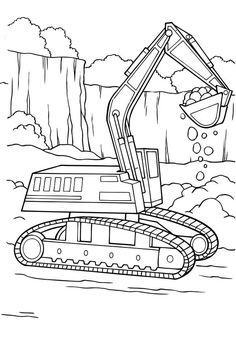 digger tractor is digging coloring page