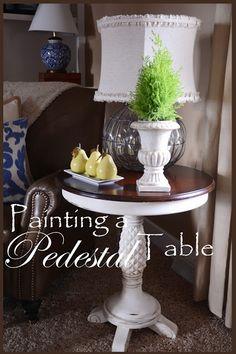StoneGable: DIY Chalk Paint Pedestal Table Refinish