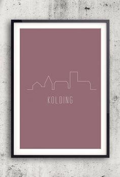 Byplakat - Kolding i rød - 50x70