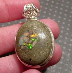 Natural Rough Ethiopian Opal Gemstone 925 Sterling Silver Pendant