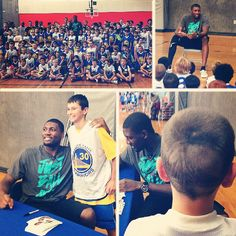 Festus Ezeli visited a session of #Warriors Basketball Camp today in Walnut Creek, where kids worked on their hoop skills and displayed awesome haircuts.
