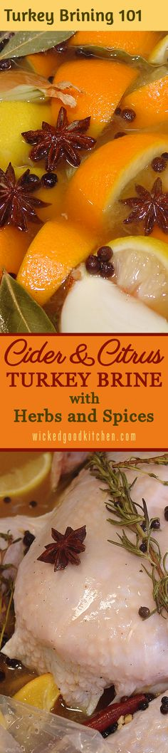 TURKEY BRINING 101: How-To Tutorial with Step-by-Step Photos & Tips ~ An exceptional turkey brine consisting of both apple cider and citrus juices as well as herbs and spices with just the right amount of salt to ensure a tender, juicy roasted holiday turkey! | #Christmas #Thanksgiving #Holidays diy recipe