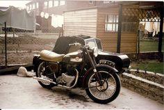 Brian's Ariel Red Hunter 650cc combo. 1955 vintage, photo taken around 1964/5 in Crayford Kent