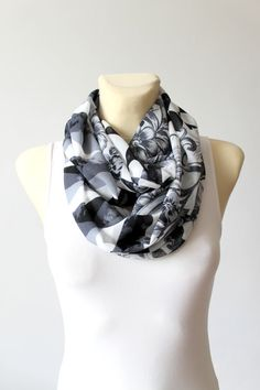 Black and White Scarf Infinity Scarf Boho Floral Scarves Printed Autumn Scarf Womens Scarves Unique Handmade Scarves Christmas Gift for her