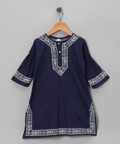 26a71f15e8e Alejandra Kearl Designs Navy Embroidered Dress - Infant