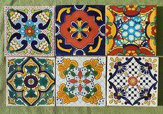 "6 Mexican Talavera Pottery 4"" Tile Hand Painted Hand Made Venice Italy CD | eBay"