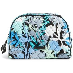 Vera Bradley Medium Zip Cosmetic Bag Camo Fl One Size Wipe Clean Pvc Lining Over Cotton U Shaped Around Closure