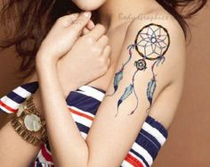 Colorful Indian dream catcher temporary tattoos for men women wrist arm leg Waterproof tatoo