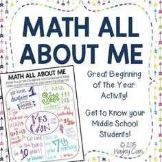 Math All About Me-Great Beginning of the Year Activity to get to know your students! Math Teacher, Math Classroom, Teaching Math, Classroom Ideas, Teaching Ideas, Teacher Sites, Classroom Labels, Teaching Tools, Teacher Stuff