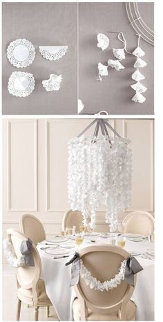 DIY Doily Wedding Chandelier from Martha Stewart Weddings. Can also use colored tissue paper instead of doilies if you need something colorful for a room or shower! Non Floral Centerpieces, Hanging Centerpiece, Wedding Centerpieces, Wedding Decorations, Centerpiece Ideas, Paper Decorations, Candle Centerpieces, Diy Decoration, Wedding Bouquets